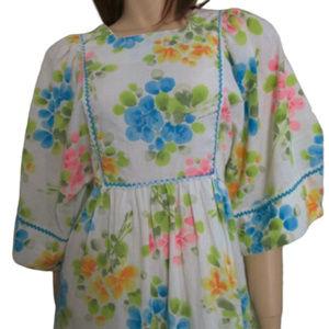60s Boho Festival Gown, Semi Sheer Floral Maxi